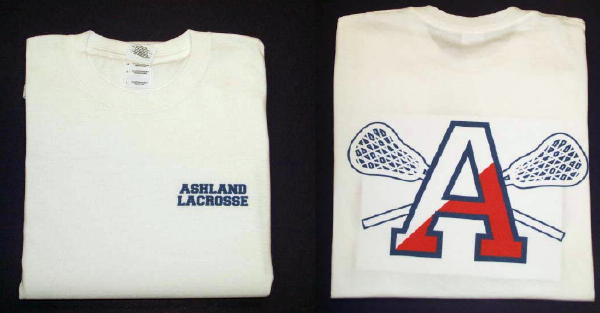 Garment Printed Ashland Lacrosse T Shirt White Embroidery Unlimited