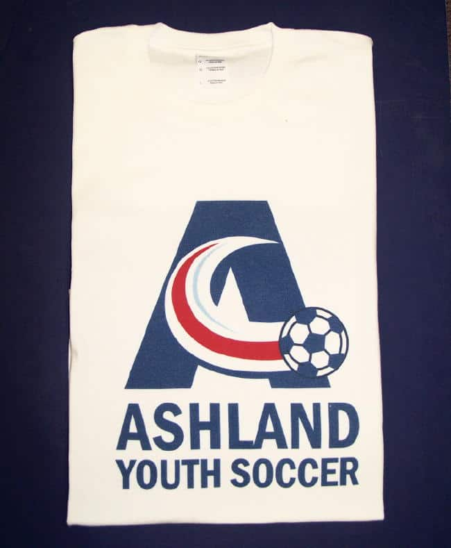 Garment Printed Ashland Soccer Adult Or Youth T Shirt White