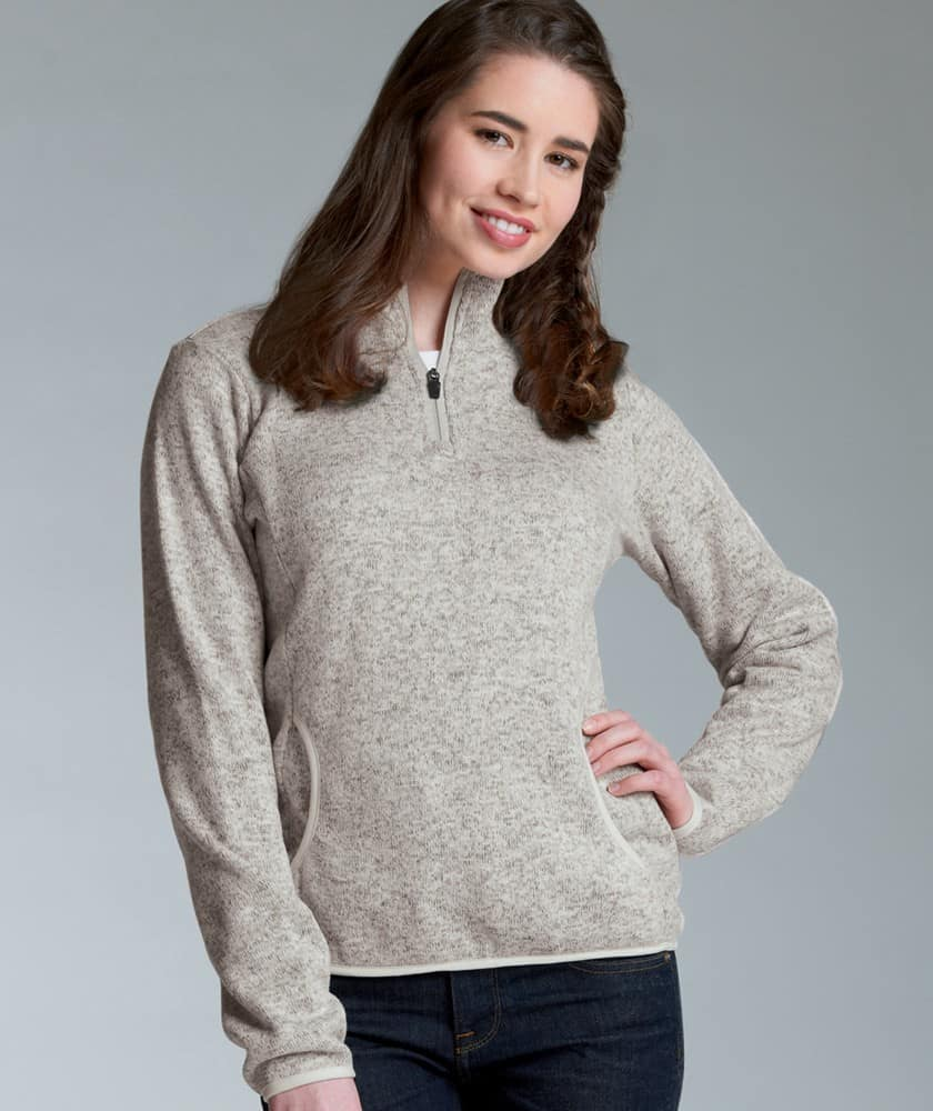Vin Bin Women's Fleece Pullover – Heathered Oatmeal | Embroidery ...
